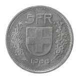 Vijf franken muntstuk Royalty-vrije Stock Afbeelding