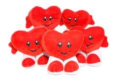 Vijf geïsoleerder valentijnskaartharten Stock Foto's