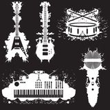 Vijf gestileerde muzikale instrumenten Royalty-vrije Stock Afbeelding