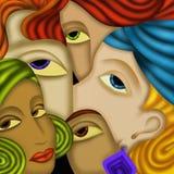 Vijf gezichten royalty-vrije illustratie
