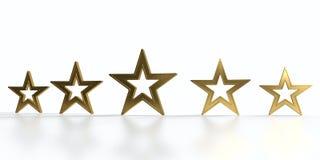 Vijf gouden sterren Stock Foto's