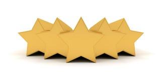 Vijf gouden sterren Stock Foto