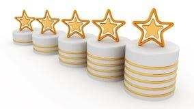 Vijf gouden sterren voor het rangschikken Stock Foto