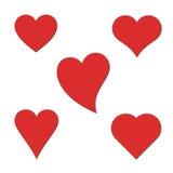 Vijf harten. vector illustratie