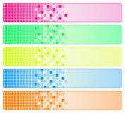 Vijf heldere abstracte banners Stock Afbeeldingen