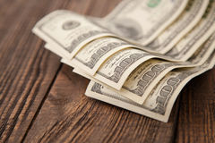 Vijf honderd dollarsclose-up Stock Afbeeldingen