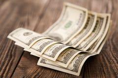 Vijf honderd dollarsclose-up Stock Foto's