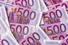 Vijf honderd euro nota's Royalty-vrije Stock Afbeeldingen