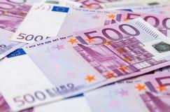 Vijf honderd euro nota's Royalty-vrije Stock Foto's