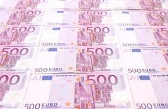Vijf honderd euro nota's. Sluit omhoog. Royalty-vrije Stock Foto
