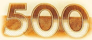 Vijf honderd nummer 500 Macro dichte omhooggaand van gouden geweven cijfers als banner van het classificatiesymbool stock illustratie