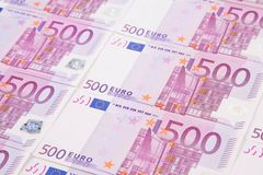 Vijf honderden euro bankbiljetten Stock Afbeelding