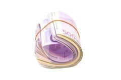 Vijf honderdste bankbiljetten in het kader van elastiekje stock foto's