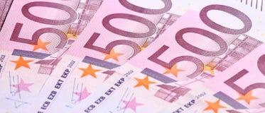 Vijf-honderdste euro bankbiljetten Stock Fotografie