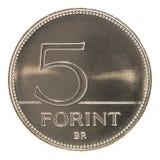 Vijf Hongaars forintmuntstuk Stock Foto's