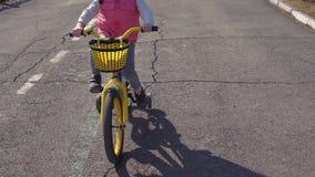 Vijf-jaar-oud weinig berijdende fiets van het blondemeisje in een oud park stock video