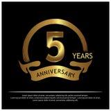 Vijf jaar verjaardags gouden het ontwerp van het verjaardagsmalplaatje voor Web, spel, Creatieve affiche, boekje, pamflet, vliege stock illustratie