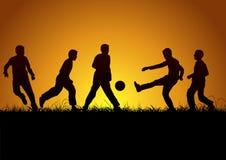 Vijf jongens en sport Stock Afbeeldingen