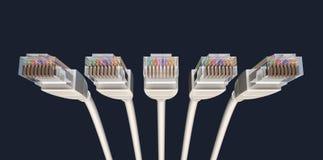 Vijf Kabels het Afgesloten voorwaarts Onder ogen zien Ethernet stock illustratie