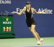 Vijf keer Grand Slam-Kampioen Maria Sharapova van Rusland in actie tijdens haar het US Openronde van 2018 van gelijke 32 stock foto
