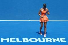 Vijf keer Grote Slagkampioen Maria Sharapova van Rusland in actie tijdens kwartfinalegelijke bij Australian Open 2016 Royalty-vrije Stock Fotografie