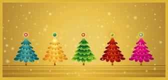 Vijf Kerstmisboom, vector Royalty-vrije Stock Foto's