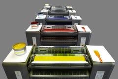Vijf kleurendrukpers Stock Afbeeldingen