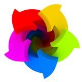 Vijf kleurenpijlen Stock Afbeeldingen