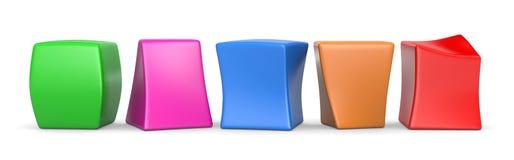 Vijf Kleurrijke Lege Grappige Kubussen Royalty-vrije Stock Foto