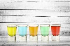 Vijf kleurrijke schoten stock foto