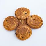 Vijf koekjes op een witte achtergrond Stock Fotografie
