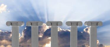 Vijf marmeren pijlers van islam of rechtvaardigheid en stappen op blauwe hemelachtergrond 3D Illustratie Stock Foto