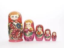 Vijf matrioscas. Royalty-vrije Stock Afbeeldingen