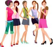 Vijf meisjes Royalty-vrije Stock Foto's