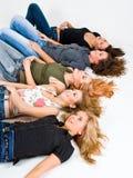 Vijf Meisjes in de Studio Stock Afbeelding