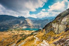 Vijf merenvallei in Hoge Tatra-Bergen Stock Foto's