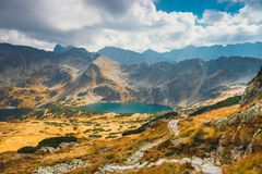 Vijf merenvallei in Hoge Tatra-Bergen, Polen Stock Afbeelding
