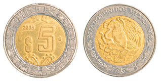 Vijf Mexicaans pesomuntstuk Royalty-vrije Stock Foto