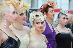 Vijf modellen bij XVII Internationaal Festival stock foto's