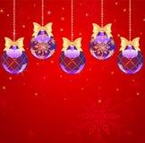Vijf nieuw-jaar donkerblauwe bal Royalty-vrije Illustratie