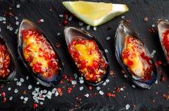 Vijf oesters De verse oesters worden opgemaakt op zwarte lei, wordt het ruwe zout rond bestrooid Zeevruchten royalty-vrije stock foto's