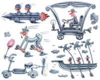 Vijf ongebruikelijke transportmiddelen Stock Foto