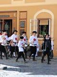 Vijf-petalled Rose Festival in Cesky Krumlov in de Tsjechische Republiek stock afbeeldingen