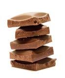 Vijf plakken van chocolade Royalty-vrije Stock Foto