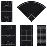 Vijf populaire lay-outs van het sportgebied in zwarte Royalty-vrije Stock Fotografie
