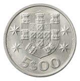 Vijf Portugese escudo Stock Foto's