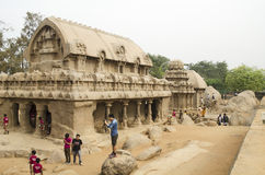 Vijf Rathas in Mahabalipuram, Tamil Nadu, India, Azië Royalty-vrije Stock Afbeeldingen