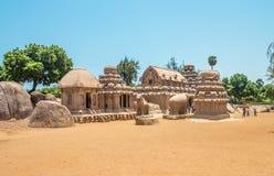Vijf rathasmonument, Mahabalipuram, Tamil Nadu, India royalty-vrije stock foto's