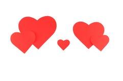 Vijf rode document harten, familieconcept Royalty-vrije Stock Afbeelding