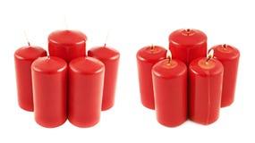 Vijf rode geïsoleerde kaarssamenstelling Stock Foto